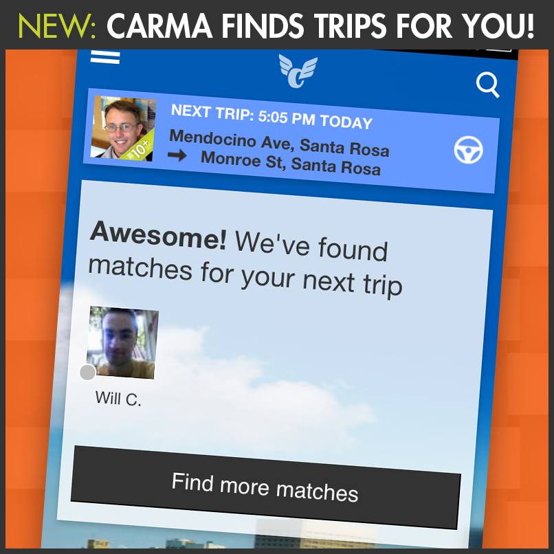 Carma rideshare mobile application Sonoma County