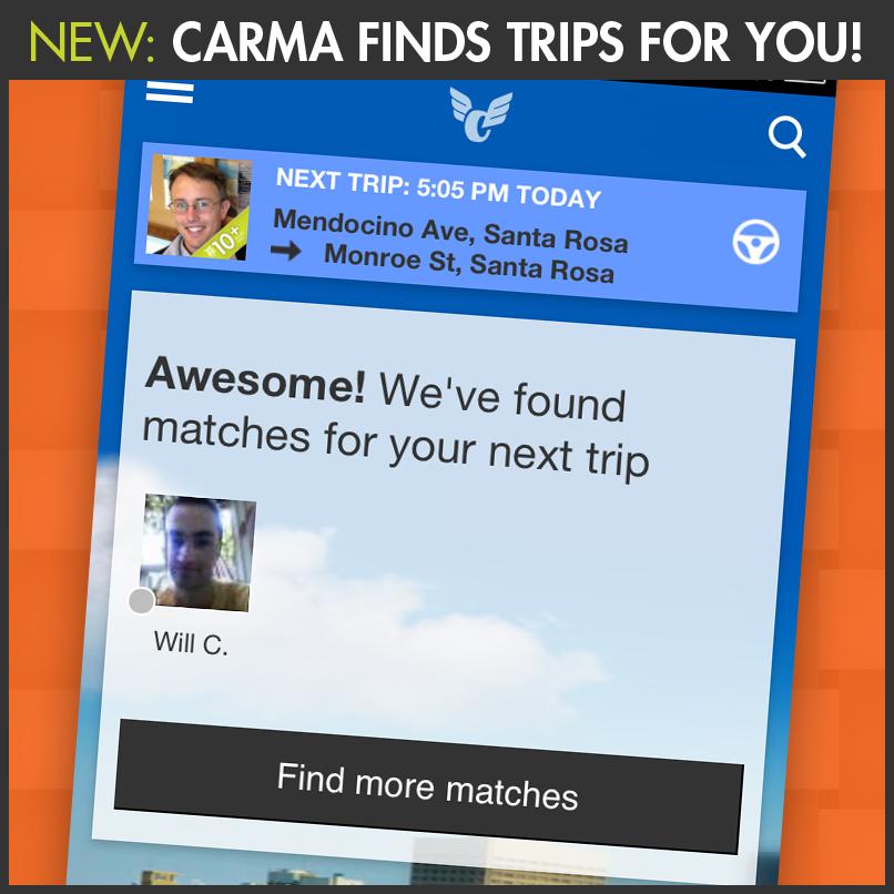 Carma rideshare mobile application Sonoma County