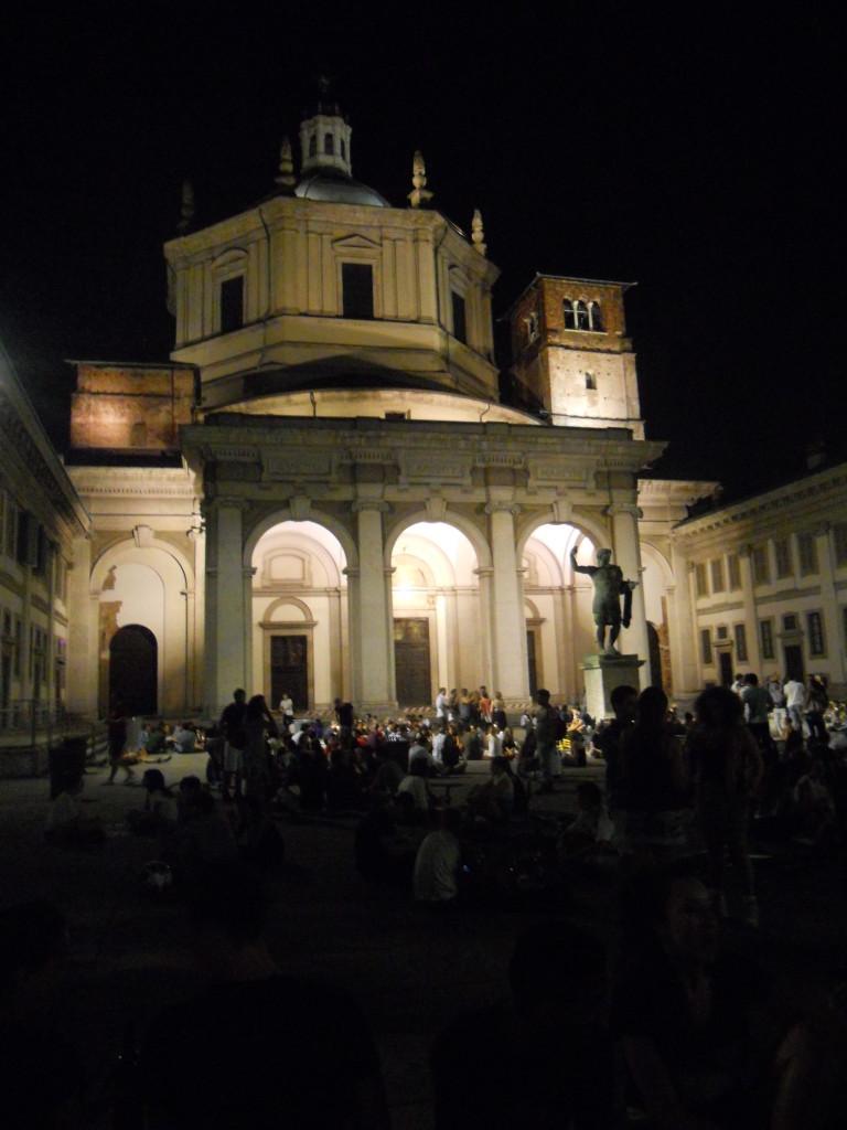 Piazza San Lorenzo by night, Milan, Italy