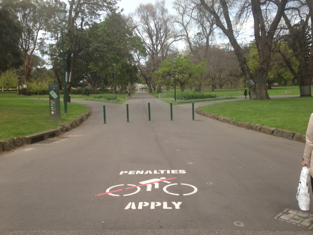 Many of Melbourne's Gardens and Parks forbid cyclists.