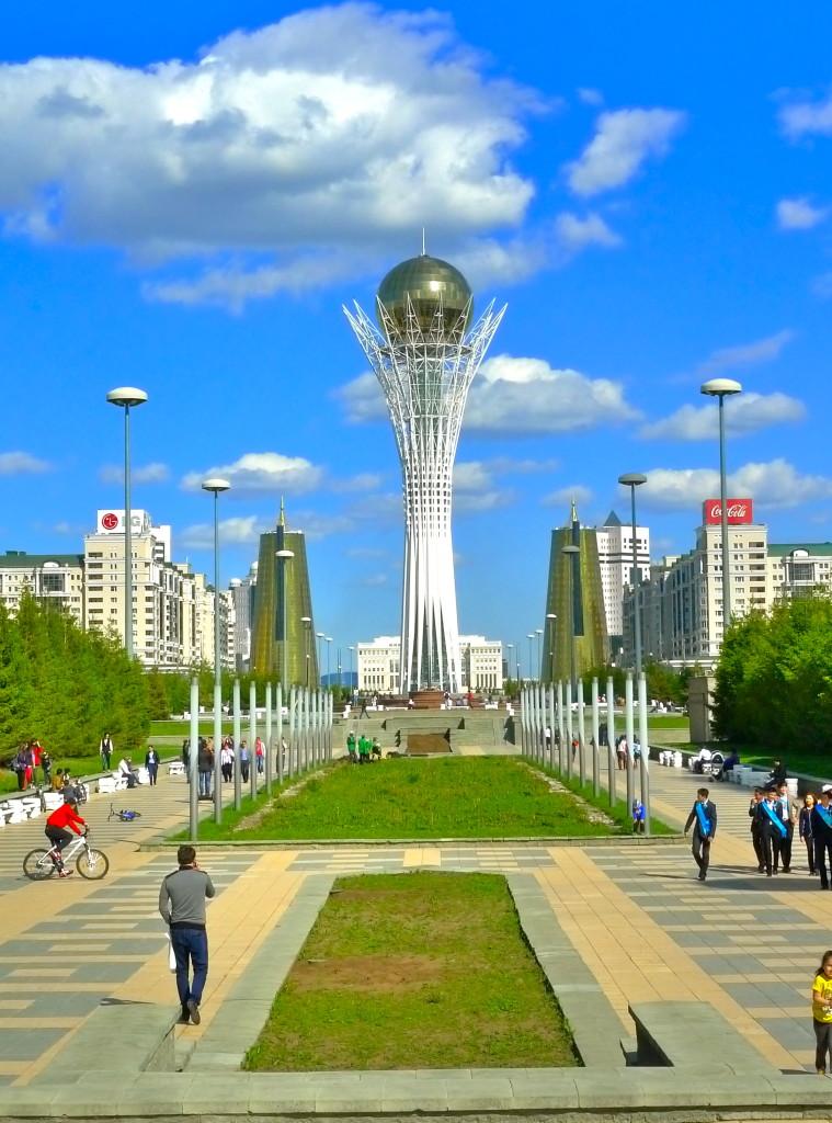 The Baiterek, framed by the House of Ministries, Astana, Kazakhstan