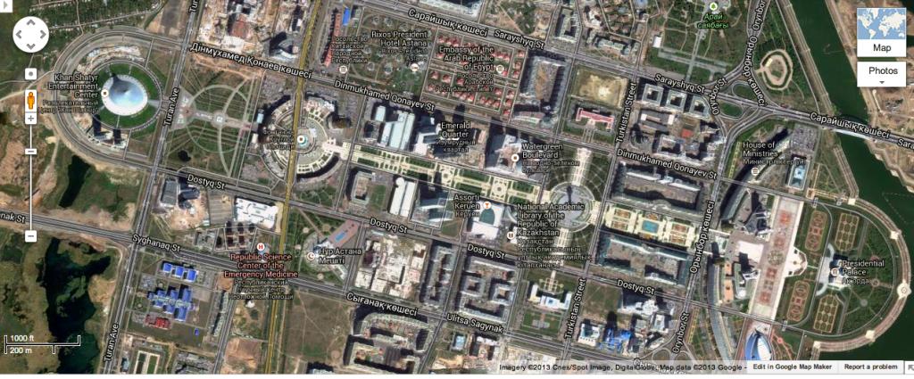 An Aerial Image of Astana's Monumental Axis from Google Maps, Astana, Kazakhstan