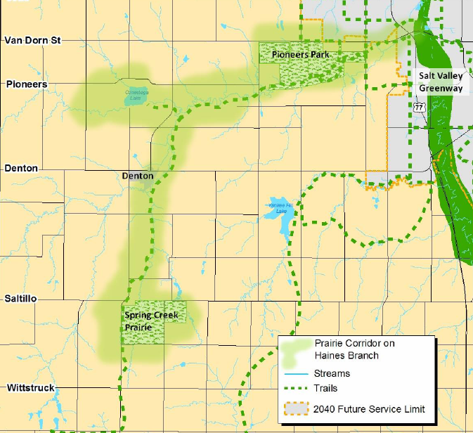 Map of Prairie Corridor Lincoln, Nebraska