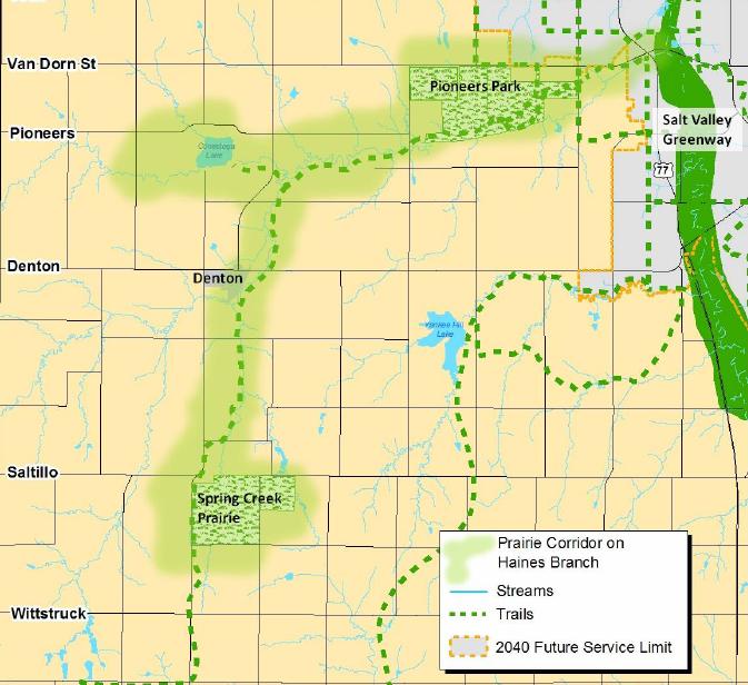 Map of Prairie Corridor Lincoln, Nebraska