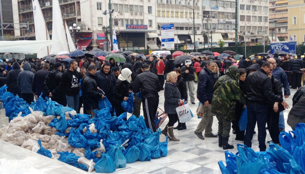Golden Dawn distributing food to Greeks-only, Chrisi Avgi, Athens, Greece
