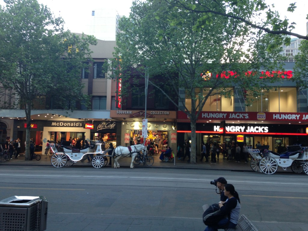 This particular area of Flinders St is notorious with theft and beggars; Melbourne