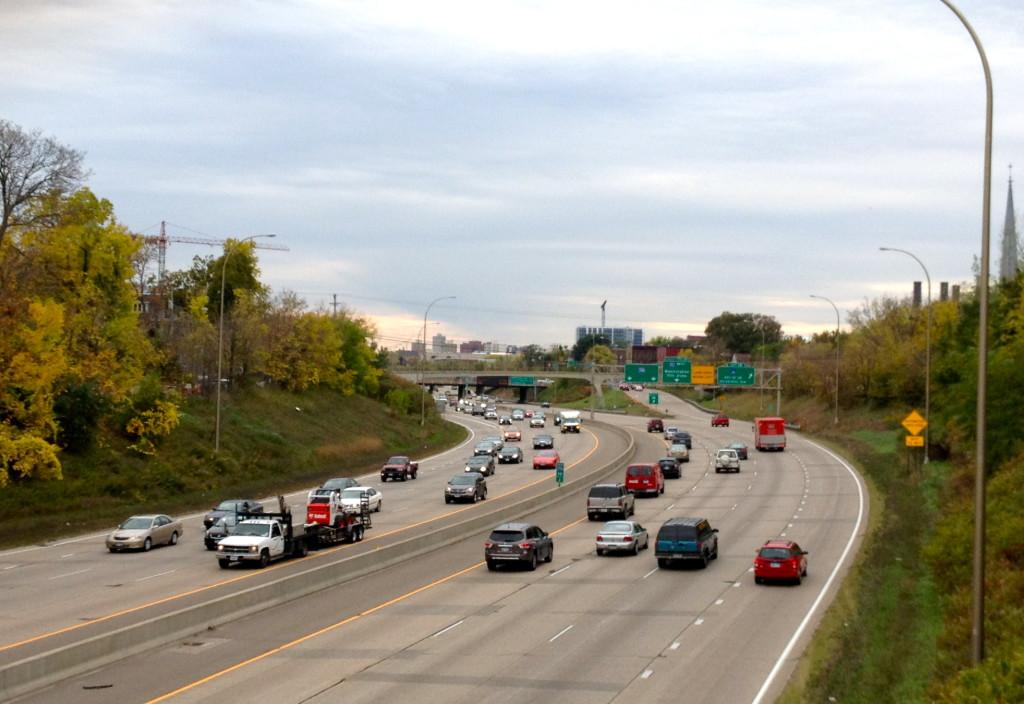 Southbound I-35 Freeway; Main enterance into Minneapolis for Northeast suburbs