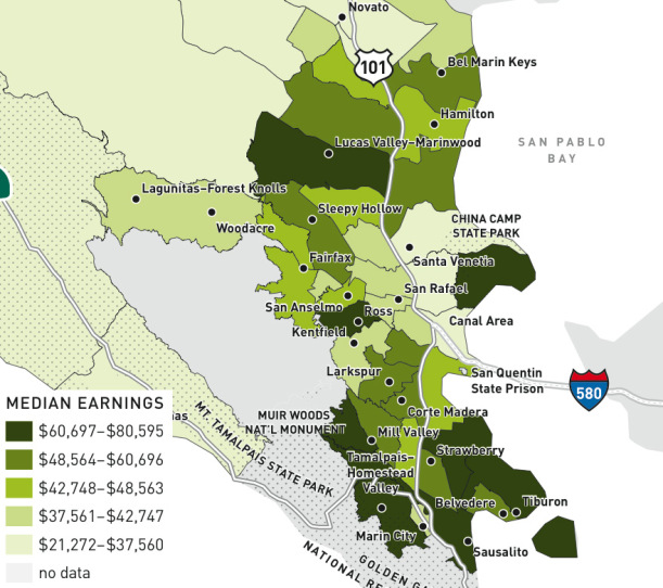 "This map was produced as part of the Human Development Project's ""Snapshot of Marin"" report"