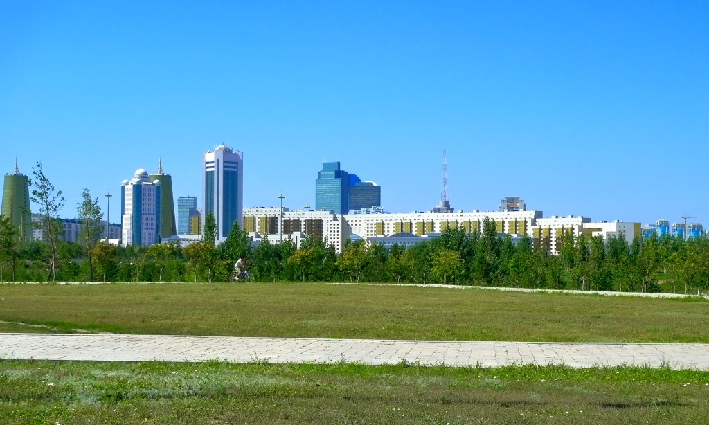 A Bicyclist in a Park Near the Palace of Peace and Reconciliation Astana, Kazakhstan