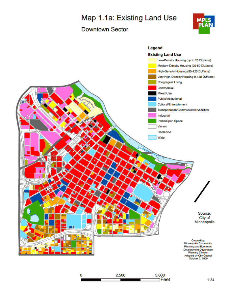 Existing Land Use of Downtown Minneapolis, Minneapolis, Minnesota