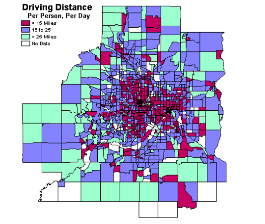 Driving Distance for the Twin Cities Metro, Minneapolis, Minnesota