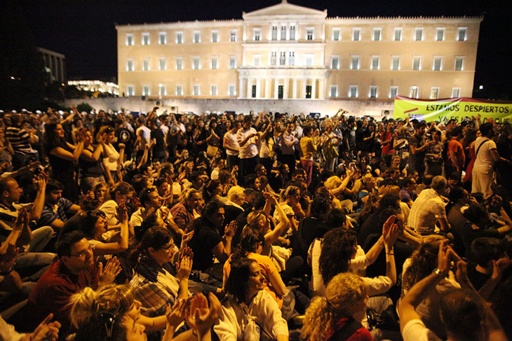 A sit-in manifestation in Square Syntagma in front of the Greek Parliament, Athens