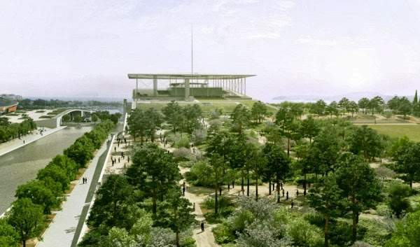 Render of the Cultural Complex and the S.N Parc next to the canal, Greece