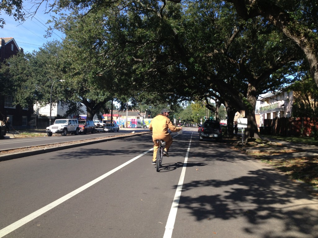 Bicyclist on Esplanade ave in new bike lane New Orleans