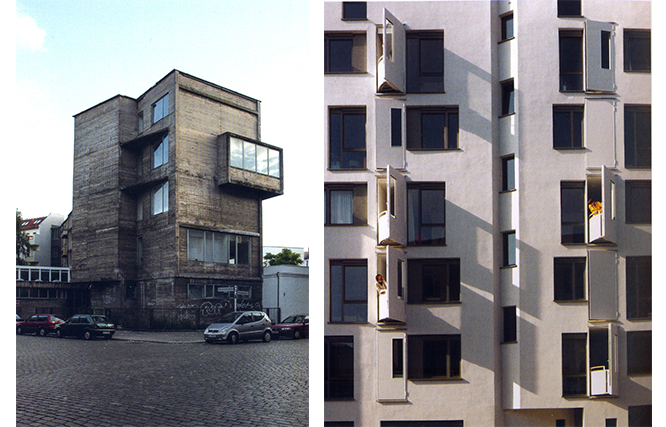Right image: Exrotaprint, Gottschedstrasse. Left image: Baugemeinschaft Strelitzer Strasse