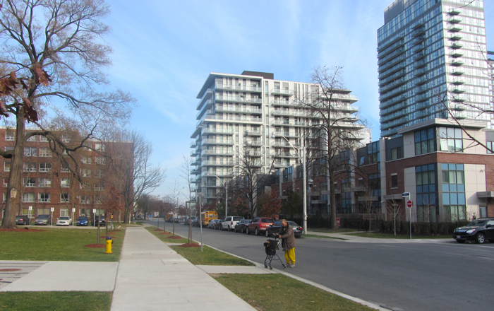 Old social housing and new revitalized buildings in Regent Park, Toronto
