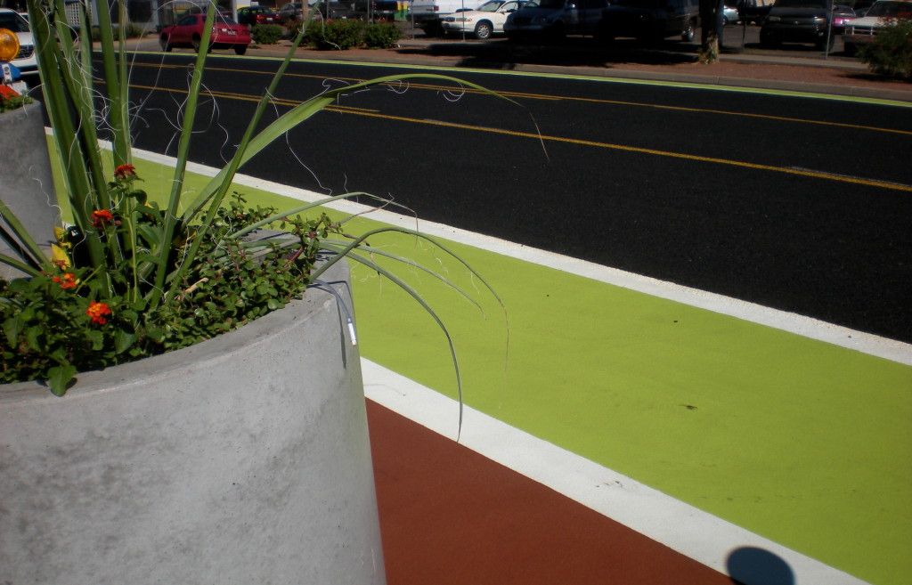 Green-painted bike lanes, Phoenix, Arizona