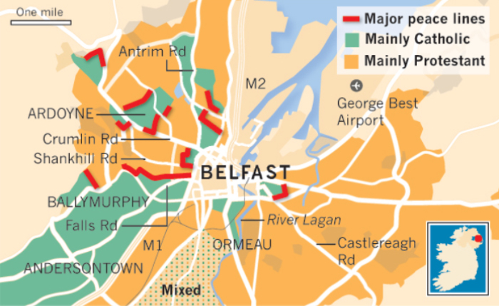 Map of Peace Lines, Northern Ireland