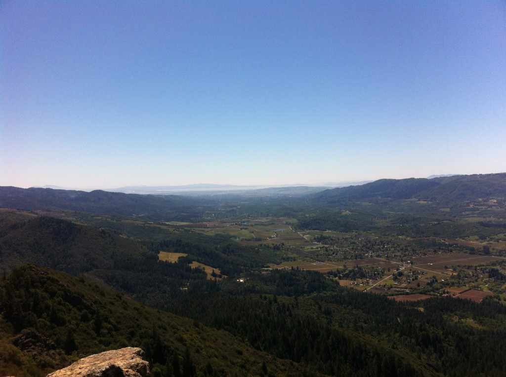 Looking southeast at Sonoma Valley from Gunsight Rock on Hood Mountain.