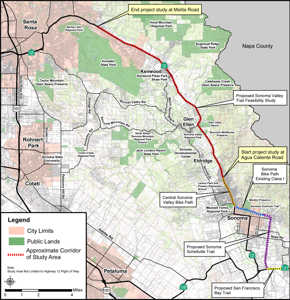 Sonoma Valley Trail Project location map