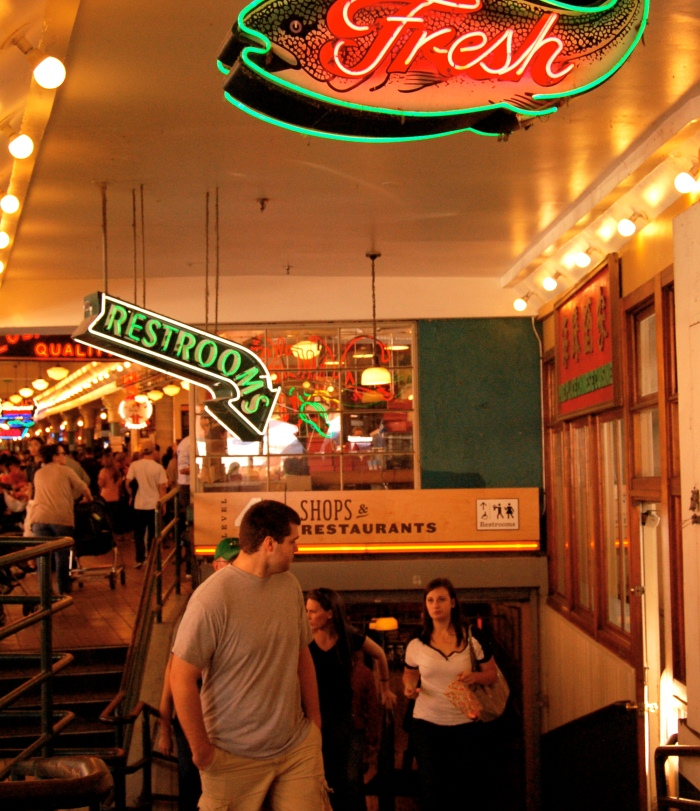 The indoor maze of Pike Place Market, Seattle