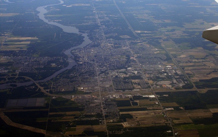 An aerial view of Drummondville, Quebec.