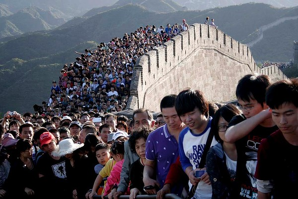 Tourists on the Great Wall, China