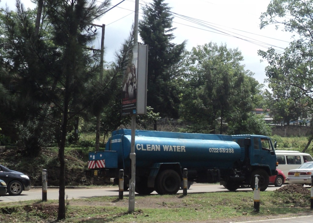 A water vending truck in the Nairobi traffic