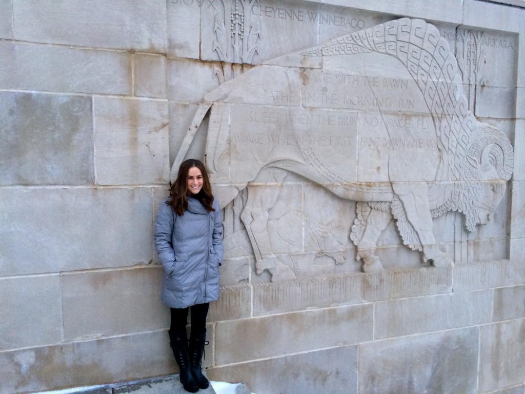 Lisa Gran at Nebraska state capital building in Lincoln, Nebraska