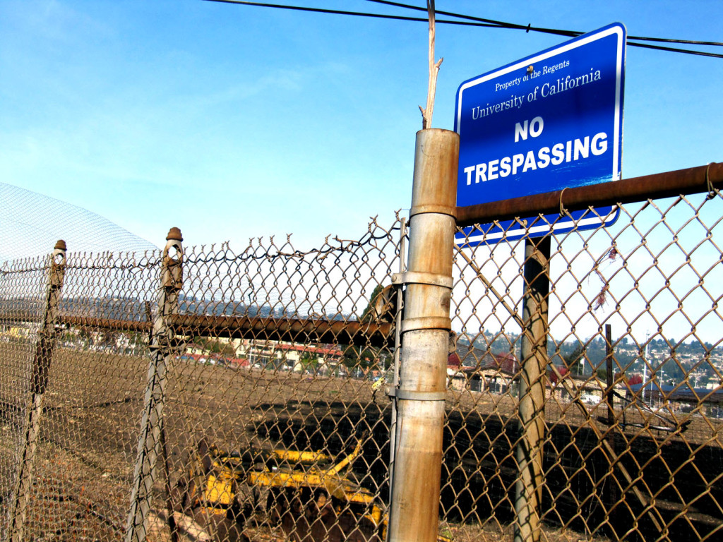 Gill Tract in Albany, Ca locked down