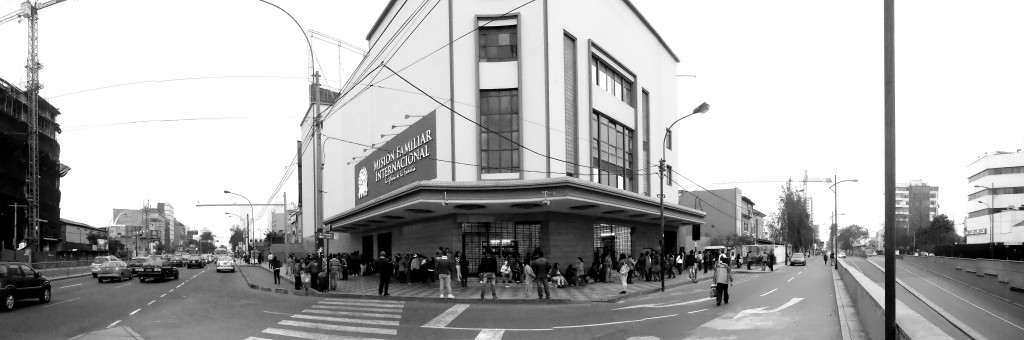 A former cinema located at the intersection of two main avenues in Lima, Peru