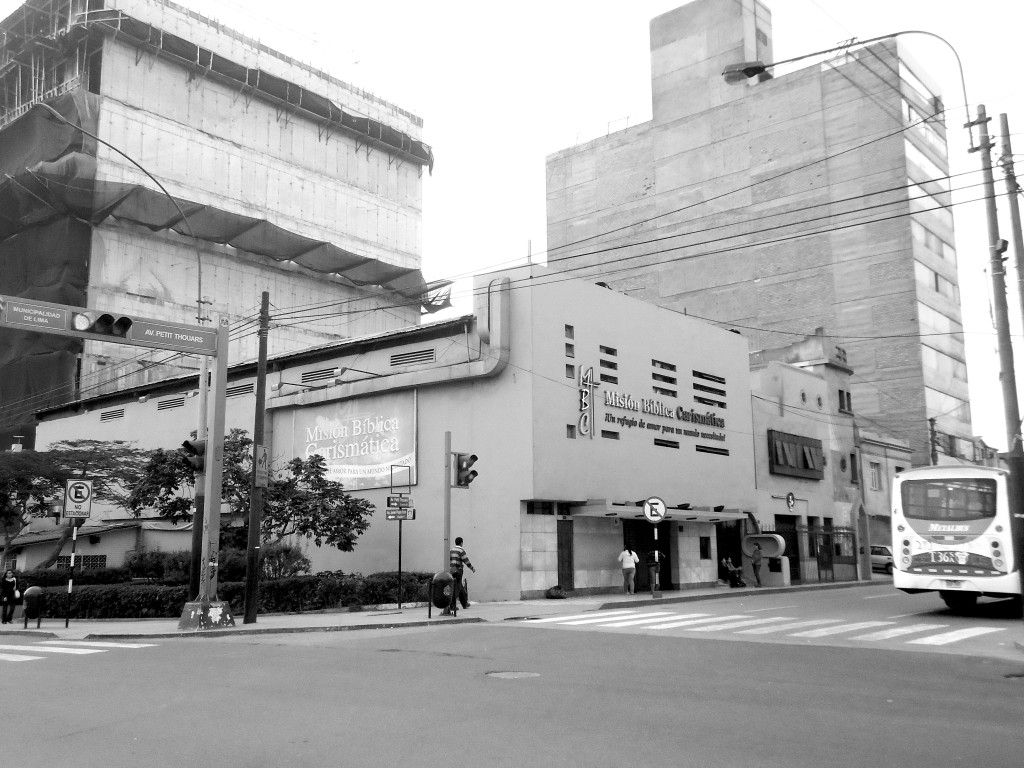 """A former neighborhood cinema in Lima, Peru, now houses the """"Charismatic Biblical Mission"""" church"""