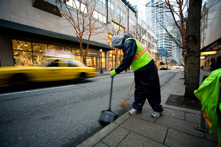 Maintenance staff cleans up downtown Seattle