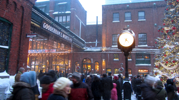 Gooderam and Worts sign at Distillery District during the 2013 Christmas Market