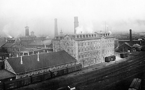 Historic photograph of Gooderam and Worts' Stone Distillery building