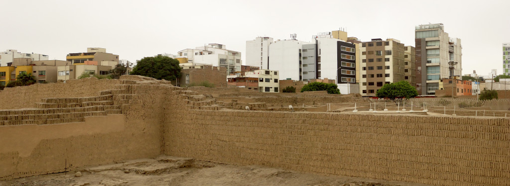 New apartment buildings slowly replace the old chalets near Pucllana, Lima, Peru