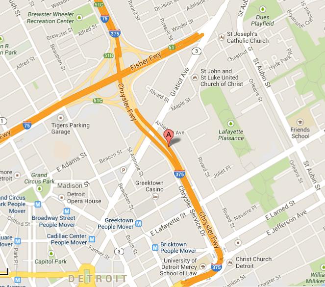 I-375, Detroit, Google Map