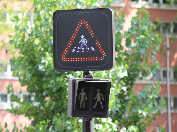 A crosswalk signal in Paris, France.