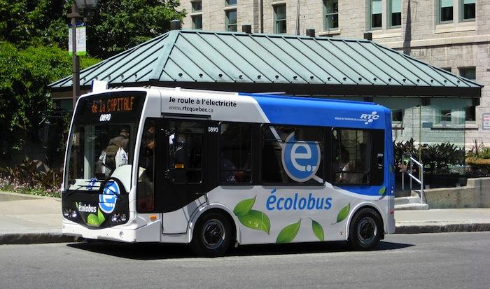 A bus in Quebec City, Quebec, Canada.
