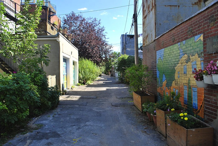 "A ""green alley"" in Montreal, Quebec."