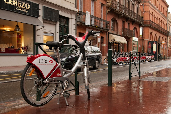 Bikes in Toulouse, France.