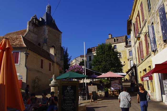 The historic downtown of Bergerac, France