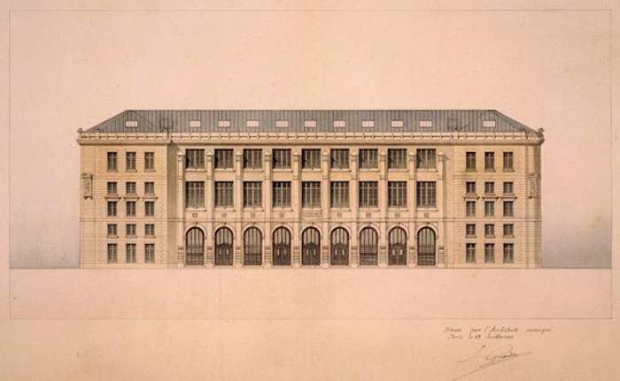 A drawing of the Poste Centrale by Julien Guadet
