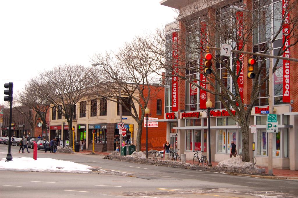 Chain stores in Davis Square, Somerville, MA