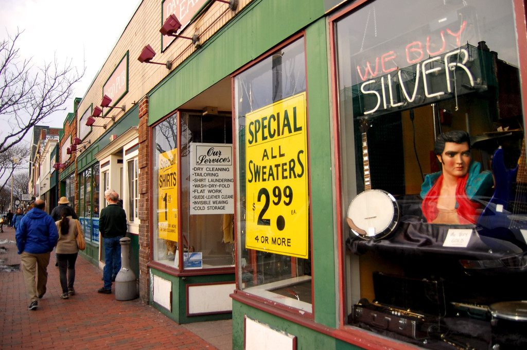 We buy silver and Elvis busts! Local shops in Davis Square, Somerville, MA