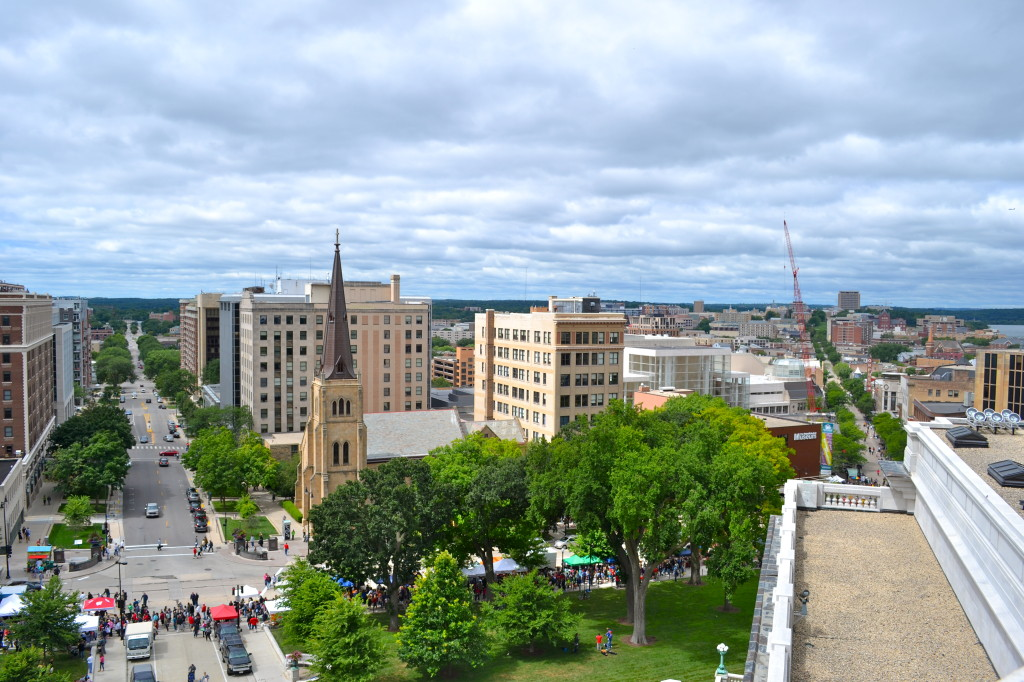 A view of downtown Madison and the Mifflin Street Neighborhood from the capitol building.