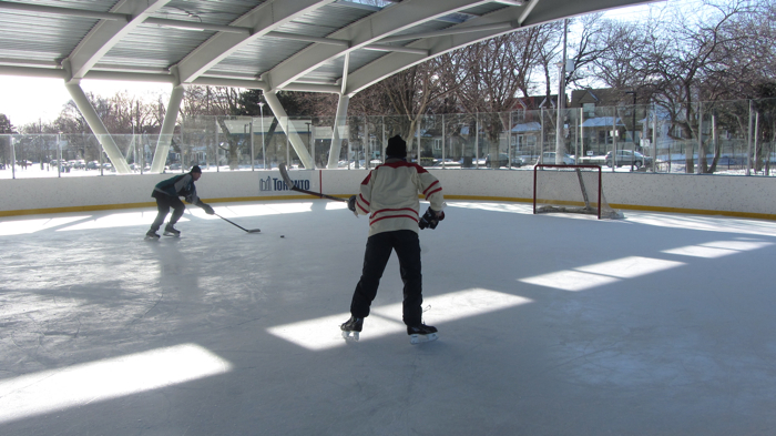 Hockey Players at Greenwood Outdoor Covered Skating Rink in Toronto