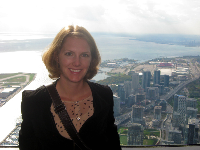 Lindsay Vanstone looking out from the CN Tower, Toronto