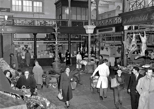 Old photo of English Market, Cork City, Ireland