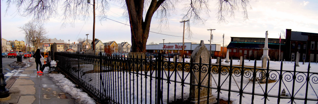 A suburban-style supermarket next to a cemetery near Union Square, Somerville, MA
